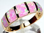 18K Rose Gold Plated Pink Fire Opal Inlay 925 Sterling Silver Ring size 6,7,8,9Gemstone - 164343