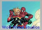 SPIDER MAN & CAPTAIN MARVEL HOLDING A PEACE SIGN WHILE BULLETS BOUNCE OFF PHOTO