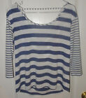 Heather Navy Blue Striped Back Draped T-Shirt Top*3/4 Sleeves*Small*tag missing