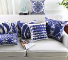 Nordic style Blue Classic Abstract Geometric Art Sofa Cushion Cover Pillow Case image