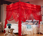 Red Princess 4 Corner Post Bed Curtain Canopy Mosquito Net Twin Queen Size image