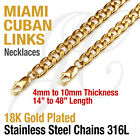 18K Gold Plated Stainless Steel 316L Miami Cuban Curb Link Chain Necklace 14-48""