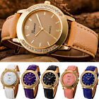 Fashion Women Men  Crystal Stainless Steel Leather Quartz Analog Wrist Wartches image