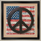 "35W""x35H"" AMERICAN FLAG PEACE SIGN by AARON FOSTER - DOUBLE MATTE, GLASS & FRAME"