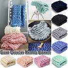 Chunky Knitted Blanket  Merino Wool Blanket Mat Thick Yarn Throw Arm Knittwear image