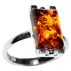 2.4g Authentic Baltic Amber 925 Sterling Silver Ring Jewelry N-A7158