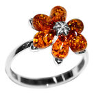 2.9g Authentic Baltic Amber 925 Sterling Silver Ring Jewelry N-A7305