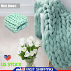 Merino Wool Blanket Mat Chunky Knitted Blanket Thick Yarn Throw Arm Mint Green image