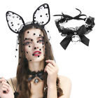 Women Kawaii Lace Bow Bell Collar Necklace Punk Sexy Choker Neck Tie Cosplay