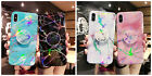 Pop Up Grip Holder Aurora Laser Glossy Marble Case for iPhone 6 7 8 Plus X Max
