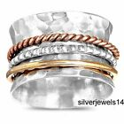 SOLID 925 STERLING SILVER BRASS COPPER SPINNER RING MEDITATION JEWELRY GS109 image