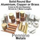 Solid ROUND Bar Rod - Aluminium, Brass or Copper 11 Sizes & 6 Lengths Available