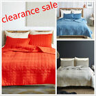 Geometric Quilt Set Gird Solid Color Bedspread Simple Coverlet Set King Queen image