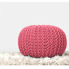 Hand Knitted Ottoman Cotton Stuffed Pouf Footstool Round Home Decor By RAJRANG