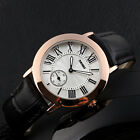 Lady Women Roman Numerals Seconds Dial Analog Genuine Leather Quartz Wrist Watch image