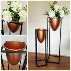 Contemporary Copper Finish Bullet Shaped Planter on Stand Metal Floral Display