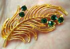 "STUNNING VINTAGE ESTATE GREEN RHINESTONE FLOWER GOLD TONE 2 1/8"" BROOCH!!! 1818T"
