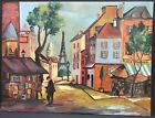 Vintage Oil Paiting A Street In Paris F Cunningham France Place Pigalle Colors