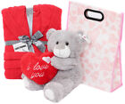 3 PIECE VALENTINES DAY GIFT BAG TEDDY BEAR AND BATH ROBE GIRLFRIEND WIFE PRESENT