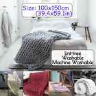 40x60in Washable Chunky Knitted Blanket Soft Warm Thick Yarn Bulky Cotton Throw image