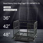 36' & 42' & 48' Metal Dog Cage Heavy Duty Dog Crate Latch Black Wheels &Tray