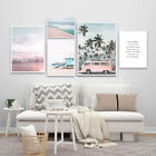 Pink Beach Bus Canvas Poster Landscape Wall Art Print Picture Nordic Style Decor