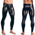 Men's Patent Leather Skinny Moto Biker Tight Pants Clubwear Leggings Trousers
