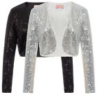 Women's Sequin Shrug Bolero Cropped Tops Jackets Coats Blazer Party Evening HOT