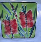"Handpainted Signed Pottery Square Plate Red & Lime Green 7"" Christmas Decor?"