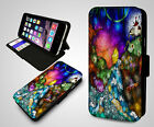 Alice In Wonderland Stained Glass Cheshire Cat Leather Wallet Phone Case Cover
