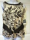 Dorby Womens Brown & Cream floral Sleeveless Belted Career Top Size 6 cotton NEW