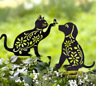 Animal Garden Stakes Metal Yard Decorations Silhouette Black Bunny Frog Cat Dog