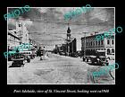 OLD LARGE HISTORIC PHOTO OF PORT ADELAIDE SA, VIEW OF VINCENT St LOOK WEST c1940