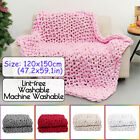 47x60in Chunky Knitted Blanket Soft Warm Hand Woven Thick Cotton Throw Blankets image