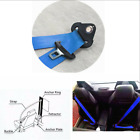 Blue Car 3 Point Retractable Auto Safety Seat Belt Lap With Warning Cable