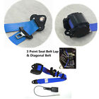 Blue 3 Point Retractable Safety Seat Belts With Warning Cable for Auto Cars