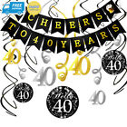 40th Birthday Decorations Kit- Konsait Cheers to 40 Years Banner Swallowtail...