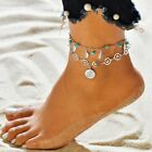 Women Stainless Steel Anklets Double Layer Symbol Charm Ankle Bracelet Beach image