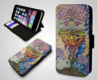 Cosmic Illusion Spiritual Psychedelic Hippie Alien Leather Flip Phone Case Cover