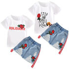 Toddler Kids Baby Girls Outfits Clothes T-shirt Tops+Denim Skirt Dress 2PCS Set