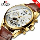 HAIQIN Men Watch Luxury Bussiness Automatic mechanical Watch men Leather