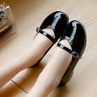 Womens Buckle Strap Round Toe Flats Breathable Patent Leather Mary Janes Shoes