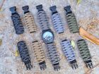 Paracord 550 ADJUSTABLE Replacement Watchband (w. Detachable strap) Bk Buckle