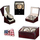 4+6 Automatic Rotation Watch Winder Leather Storage Display Case Box Wooden image
