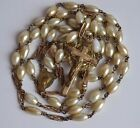Antique Glass Faux Pearl & Brass Catholic Rosary possibly gold plated