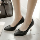Sexy Womens Pointed Toe Kitten Heels Slip On Office Chic Leather Spring Shoes