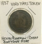 1837 HT token-Henry Anderson-Cheap Boot+Shoe Store-Chatham Sq., New York