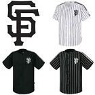 San Francisco Giants Striped Button Jersey Baseball Open T-Shirts Uniform 0115 on Ebay