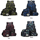 3pcs/set Boys School Bags Backpack for Teenagers Pencil Case Blue Book Bag NEW