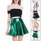 Women's Sexy Shiny Metallic Wet Look Skater Flared Short Pleated Mini Club Skirt